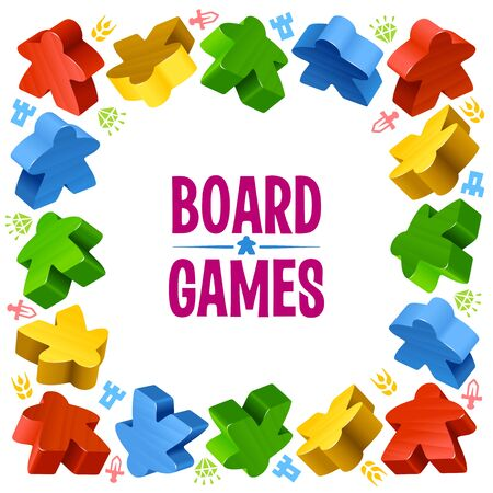 boardgames: Square frame of multicolored meeples for board games. Game pieces and resources counter icons isolated on white background. Vector border for design boardgames advertisement or template of geek t-shirt print
