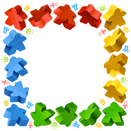 boardgames: Square frame of multicolored meeples for board games. Red, yellow and green game pieces, and resources counter icons isolated on white background. Vector border for design boardgames advertisement or template of geek t-shirt print