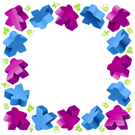 Square frame of meeples for board games. Blue and purple game pieces, and resources. Illustration