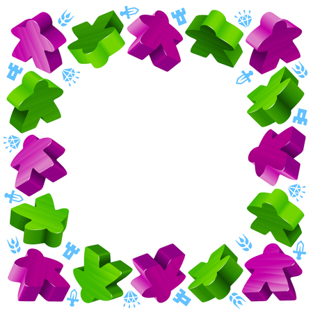Square frame of meeples for board games. Green and purple game pieces, and resources.