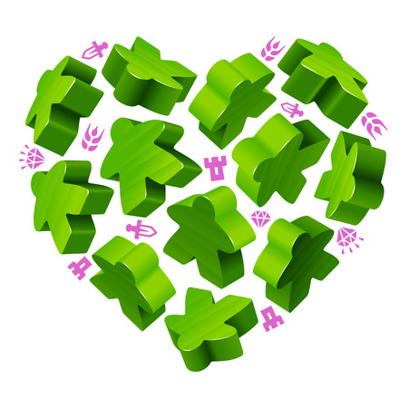 follower: Vector game pieces in the shape of heart. Green wooden meeples and resources counter icons.
