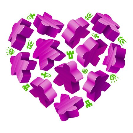 people icon: Vector game pieces in the shape of heart. Purple wooden meeples, and resources counter.