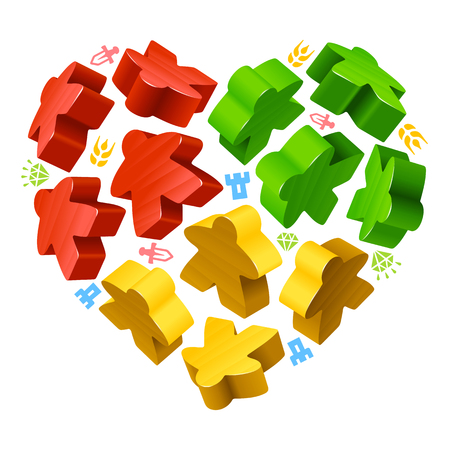 green heart: Vector multicoloured game pieces in the shape of heart. Red, yellow and green wooden meeples.