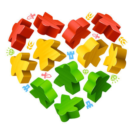 Vector multicoloured game pieces in the shape of heart. Red, yellow and green wooden meeples, and resources counter icons isolated on white background. Concept of love by board games. Illustration