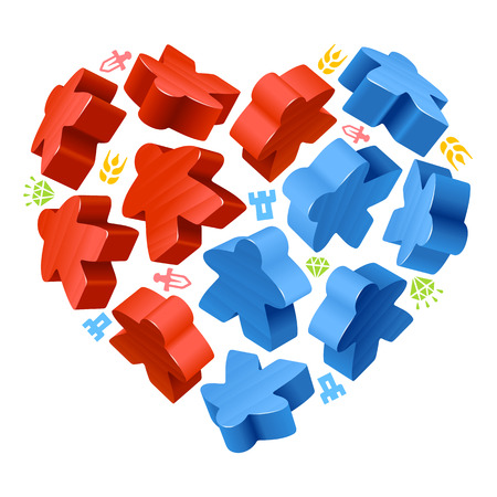 Vector game pieces in the shape of heart. Red and blue wooden meeples, and resources counter.