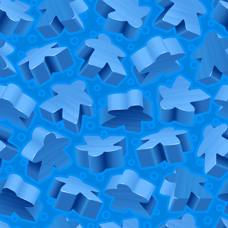Vector board games background of blue meeples. Seamless pattern of wooden pieces for gift wrapping or wallpaper