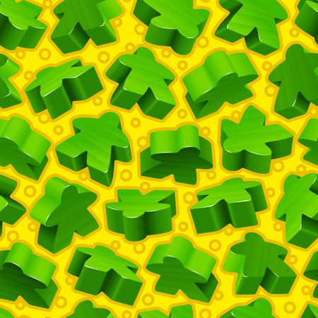 Vector board games background of green meeples. Seamless pattern of wooden pieces for gift wrapping or wallpaper