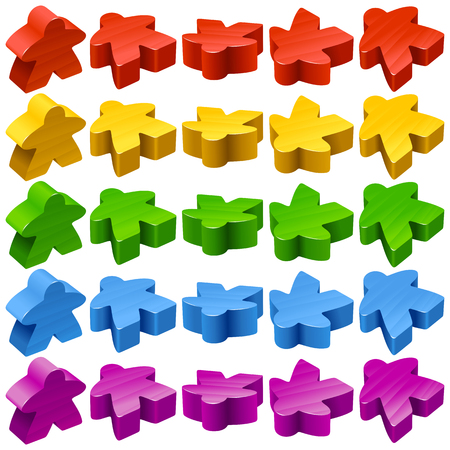 boardgames: Vector set of standard wooden meeples for board games. Multicolor game pieces isolated on white background. Boardgames symbol for community icons or geek print