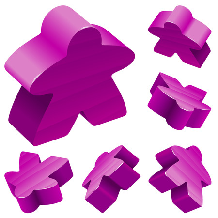 boardgames: Vector set of standard wooden meeples for board games. Purple gaming pieces isolated on white background. Boardgames symbol for advertisement, community icons or geek print