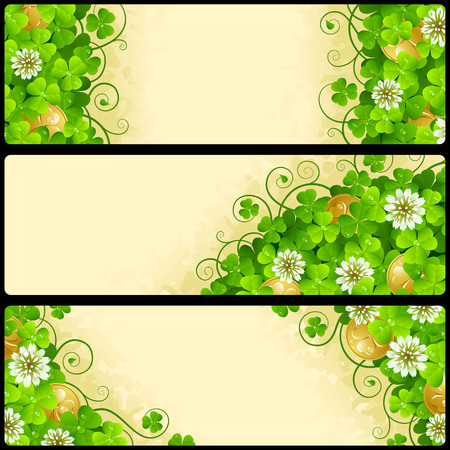 festive: Set of Patricks Day Horizontal Banners. Festive Frames with Green Shamrock, Flowers of Clover and Leprechaun Gold. Vector Illustration