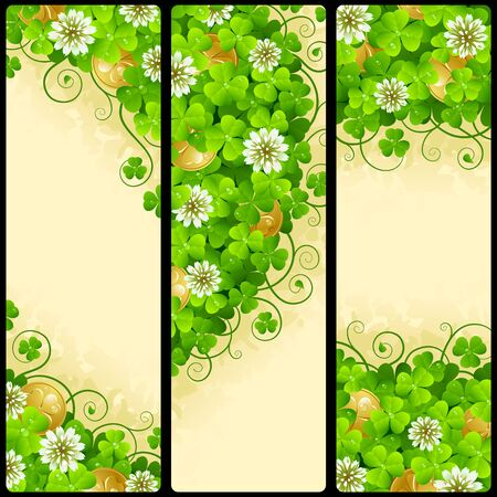 festive background: Set of Patricks Day Vertical Banners. Festive Frames with Green Shamrock, Flowers of Clover and Leprechaun Gold. Vector Illustration