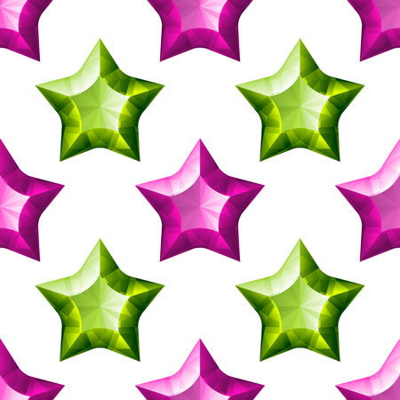 Diamonds Stars Seamless Pattern. Purple and Green Fashion Background Elements. Luxury Abstract Geometric Texture. Design Template for Wallpaper, Wrapping, Fabric or Textile. Vector Illustration