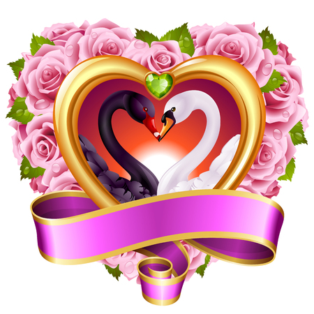 affections: Vector love concept. Pink roses in heart shape, swan couple and blank swirl banner.