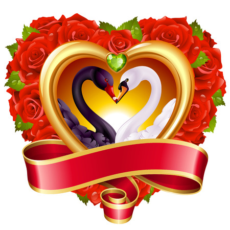 Vector love concept. Red roses in heart shape, swan couple and blank swirl banner. Illustration