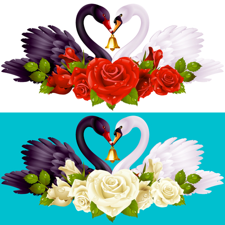 gold: Vector Set of Swan Couple and Roses. Black Cob and White Pen hold a Golden Bell. Illustration