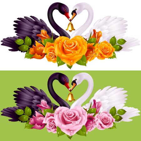 Vector Set of Swan Couple and Roses. Black Cob and White Pen hold a Golden Bell. Illustration
