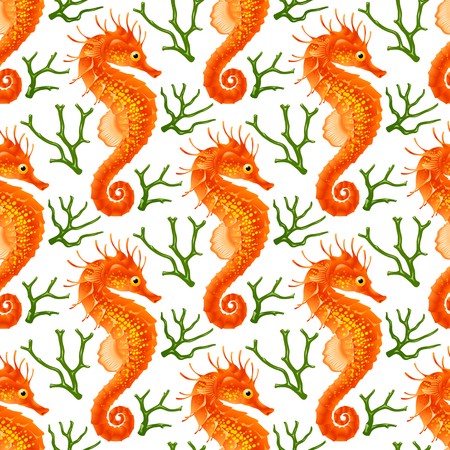 tropical: Vector Seamless Pattern with Seahorse. Red Thorny Hippo-campus and Green Coral Isolated on White Background. Illustration