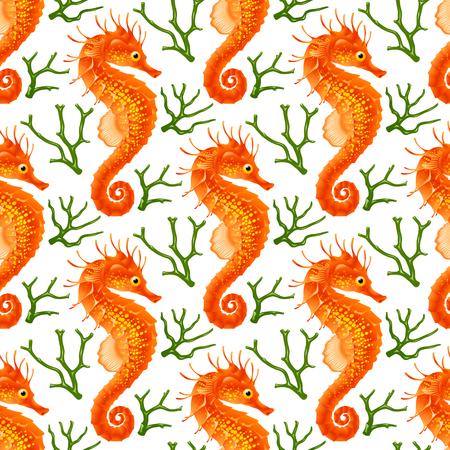 Vektor nahtlose Muster mit Seepferdchen. Red Thorny Hippo-Campus und Green Coral isoliert auf weißem Hintergrund. Standard-Bild - 76971842