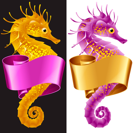 Vector Thorny Seahorse is Wrapped in Swirl Ribbon. Set of Hippo-campus and Banner Frame Isolated on Background. Illustration