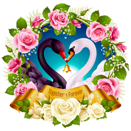 golden: Vector Wreath of Roses, Couple Swans, Ribbon and Dawn Background. Black Cob and White Pen hold a Golden Bell. Birds Neck and Flowers in Heart Shape. Valentines Day Card or Wedding Invitation