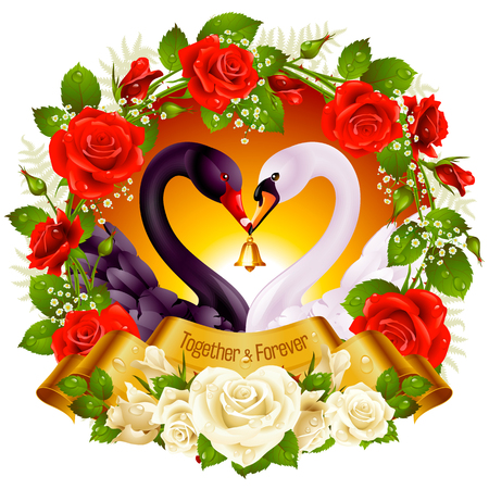 Vector Wreath of Roses, Couple Swans, Ribbon and Dawn Background. Black Cob and White Pen hold a Golden Bell.
