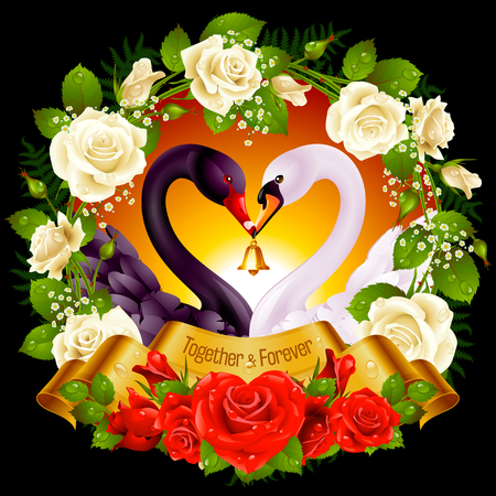 ribbon: Vector Wreath of Roses, Couple Swans, Ribbon and Dawn Background. Black Cob and White Pen hold a Golden Bell.