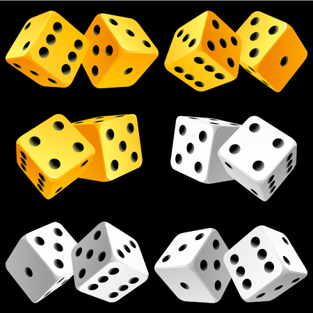Casino Dice Set of Authentic Icons. Yellow and White Pair of Poker Cubes Vector Illustration