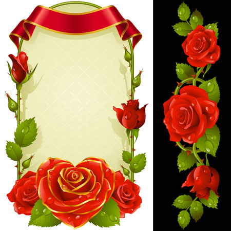 Set of Floral Decoration. Red Roses, Green Leaves and Curly Ribbon. One of Flowers in Heart Shape with Golden Border. Valentines Day Card or Wedding Invitation