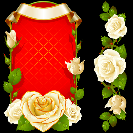 affection: Set of Floral Decoration. White Roses, Green Leaves and Curly Ribbon. One of Flowers in Heart Shape with Golden Border. Valentines Day Card or Wedding Invitation