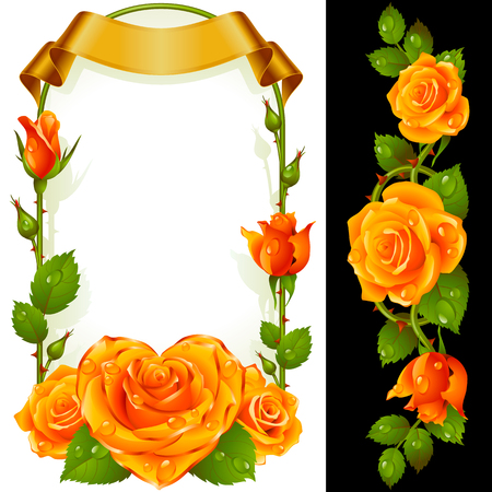 Set of Floral Decoration. Yellow Roses, Green Leaves and Curly Ribbon. One of Flowers in Heart Shape with Golden Border. Valentines Day Card or Wedding