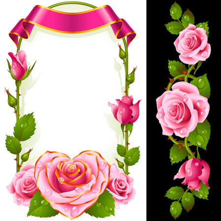 Set of Floral Decoration. Pink Roses, Green Leaves and Curly Ribbon. One of Flowers in Heart Shape with Golden Border. Valentines Day Card or Wedding Invitation