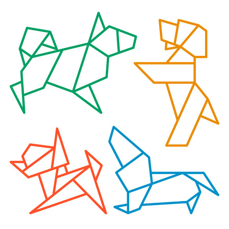 Vector Origami Dogs Icon Set. Abstract Low Poly Pet Dog Breed Sign Silhouette Isolated on White. Freehand Drawn Paper Folding Art Emblem. Template Geometric icon Design. Chinese New Year Symbol