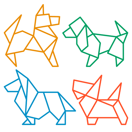 Vector Origami Dogs Icon Set. Abstract Low Poly Pet Dog Breed Sign Silhouette Isolated on White. Freehand Drawn Paper Folding Art Emblem. Template Geometric Design. Chinese New Year Symbol Vettoriali