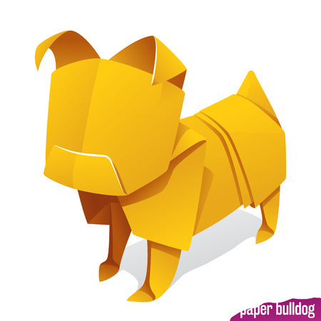 Vector origami paper dog. Yellow pug icon isolated on white background. Concept of natural pet food or 2018 Chinese New Year symbol