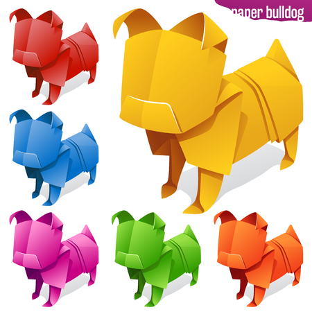 Vector origami paper dogs. Yellow, red, orage, blue, green and pink bulldog or pug icons isolated on white background. Concept of natural pet food or 2018 Chinese New Year symbol Vettoriali
