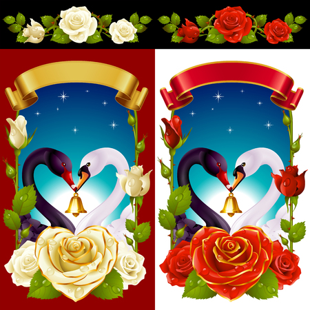 Vector Set of Floral Decoration. Red and White Roses, Couple Swans, Ribbon and Dawn Background. One of Flowers in Heart Shape with Golden Border. Valentines Day Card or Wedding Invitation Stock Illustratie