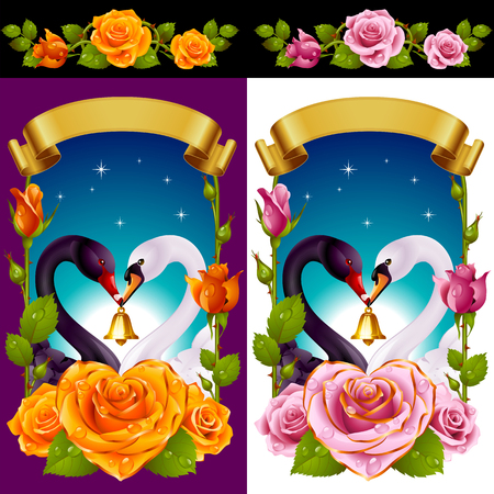 Vector Set of Floral Decoration. Yellow and Pink Roses, Couple Swans, Ribbon and Dawn Background. One of Flowers in Heart Shape with Golden Border. Valentines Day Card or Wedding Invitation