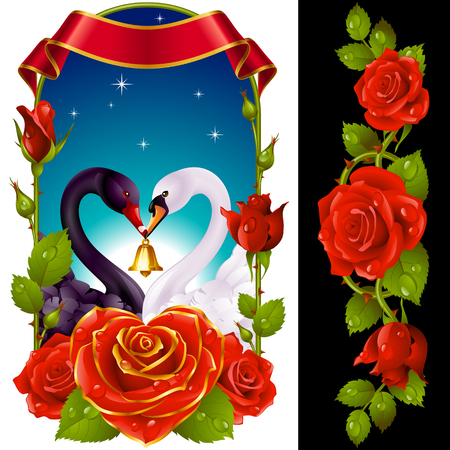 Vector Set of Floral Decoration. Red Roses, Couple Swans, Ribbon and Dawn Background. One of Flowers in Heart Shape with Golden Border. Valentines Day Card or Wedding Invitation Isolated on Background Vectores