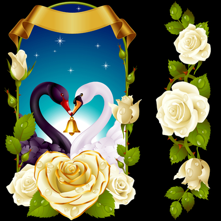 Vector Set of Floral Decoration. White Roses, Couple Swans, Ribbon and Dawn Background. One of Flowers in Heart Shape with Golden Border. Valentines Day Card or Wedding Invitation