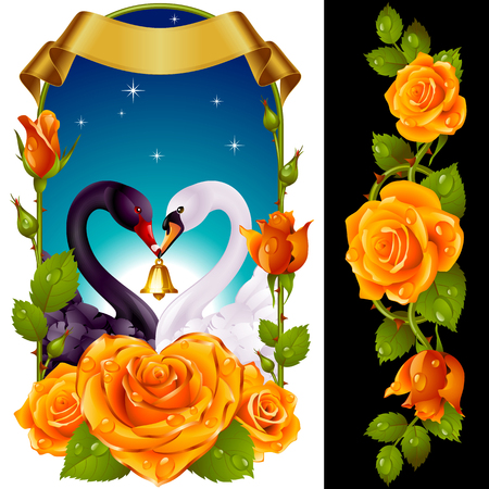 Vector Set of Floral Decoration. Yellow Roses, Couple Swans, Ribbon and Dawn Background. One of Flowers in Heart Shape with Golden Border. Valentines Day Card or Wedding Invitation