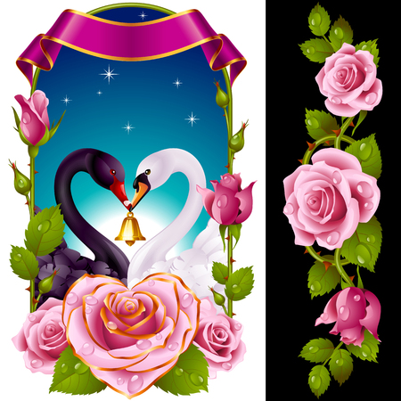 Vector Set of Floral Decoration. Pink Roses, Couple Swans, Ribbon and Dawn Background. One of Flowers in Heart Shape with Golden Border. Valentines Day Card or Wedding Invitation