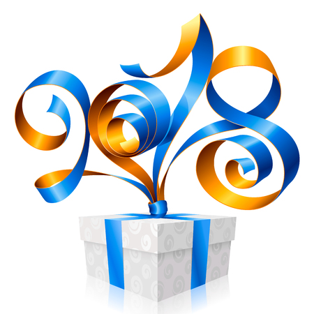 2018 Blue Ribbon Lettering and Gift Box for New Year Greeting Card or Party Invitation. Holiday Symbol Isolated on White Background. Vector Illustration