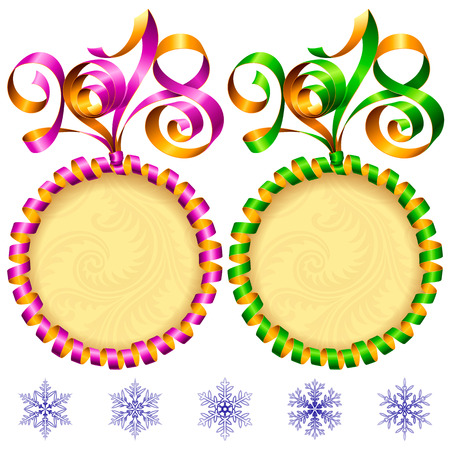 2018 Ribbons Lettering and Circle Frames set for New Year Greeting Cards or Party Invitation. Green and Purple Holiday Symbols and Snowflakes Isolated on White Background. Vector Illustration Illustration
