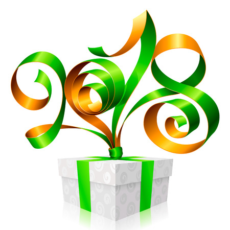 2018 Green Ribbon Lettering and Gift Box for New Year Greeting Card or Party Invitation. Holiday Symbol Isolated on White Background. Vector Illustration