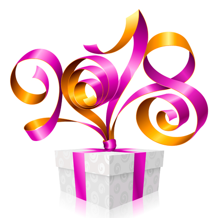2018 Purple Ribbon Lettering and Gift Box for New Year Greeting Card or Party Invitation. Holiday Symbol Isolated on White Background. Vector Illustration Illustration