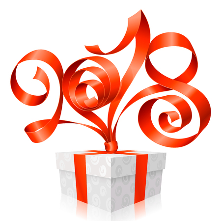 2018 Red Ribbon Lettering and Gift Box for New Year Greeting Card or Party Invitation. Holiday Symbol  Isolated on White Background. Vector Illustration