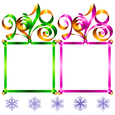 2018 Ribbons Lettering and Square Frames set for New Year Greeting Cards or Party Invitation. Red and Blue Holiday Symbols and Snowflakes Isolated on White Background. Vector Illustration Illustration