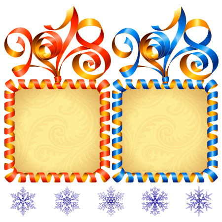 2018 Ribbons Lettering and Square Frames set for New Year Greeting Cards or Party Invitation. Red and Blue Holiday Symbols and Snowflakes Isolated on White Background. Vector Illustration Stock Illustratie