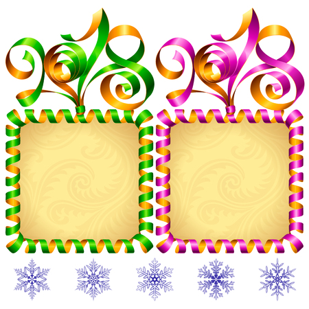 2018 Ribbons Lettering and Square Frames set for New Year Greeting Cards or Party Invitation. Green and Purple Holiday Symbols and Snowflakes Isolated on White Background. Vector Illustration Stock Illustratie