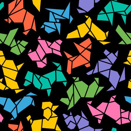 Vektor-Origami verfolgt nahtlosen Hintergrund. Abstraktes niedriges Polyhaustier-Hundezucht-Zeichen-Schattenbild-Muster lokalisiert auf Schwarzem. Abstraktes Tier Geometric Wallpaper Design. Chinesisches Neujahrszeichen 2018